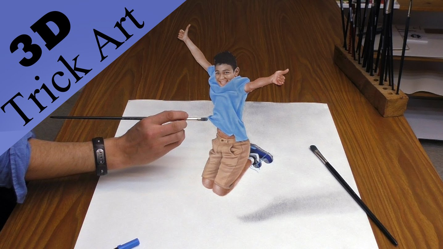 How To Create A 3d Optical Illusion Drawing Of A Boy Who