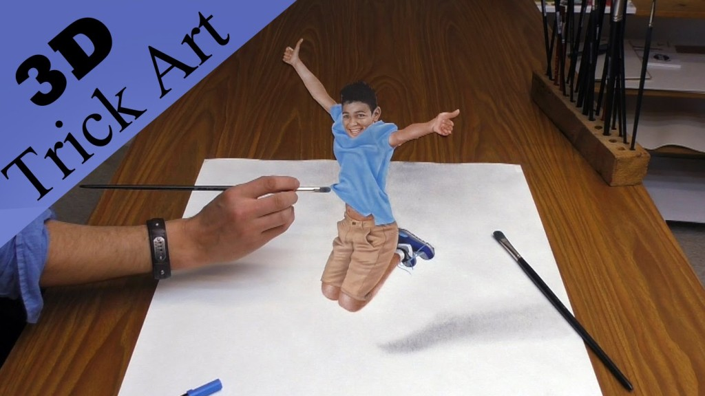 How to Create a 3D Optical Illusion Drawing of a Boy Who Seemingly Jumps Right Off of the Paper