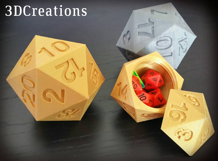 3D Printed D20 Dice Box
