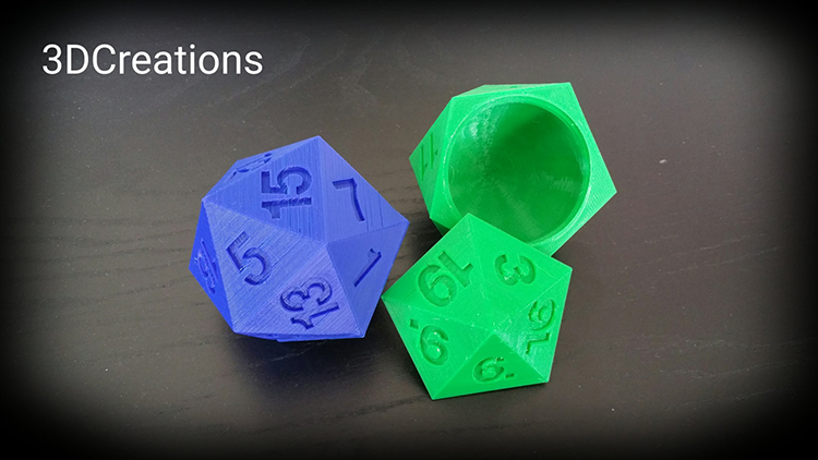 3D Printed D20 Dice Box