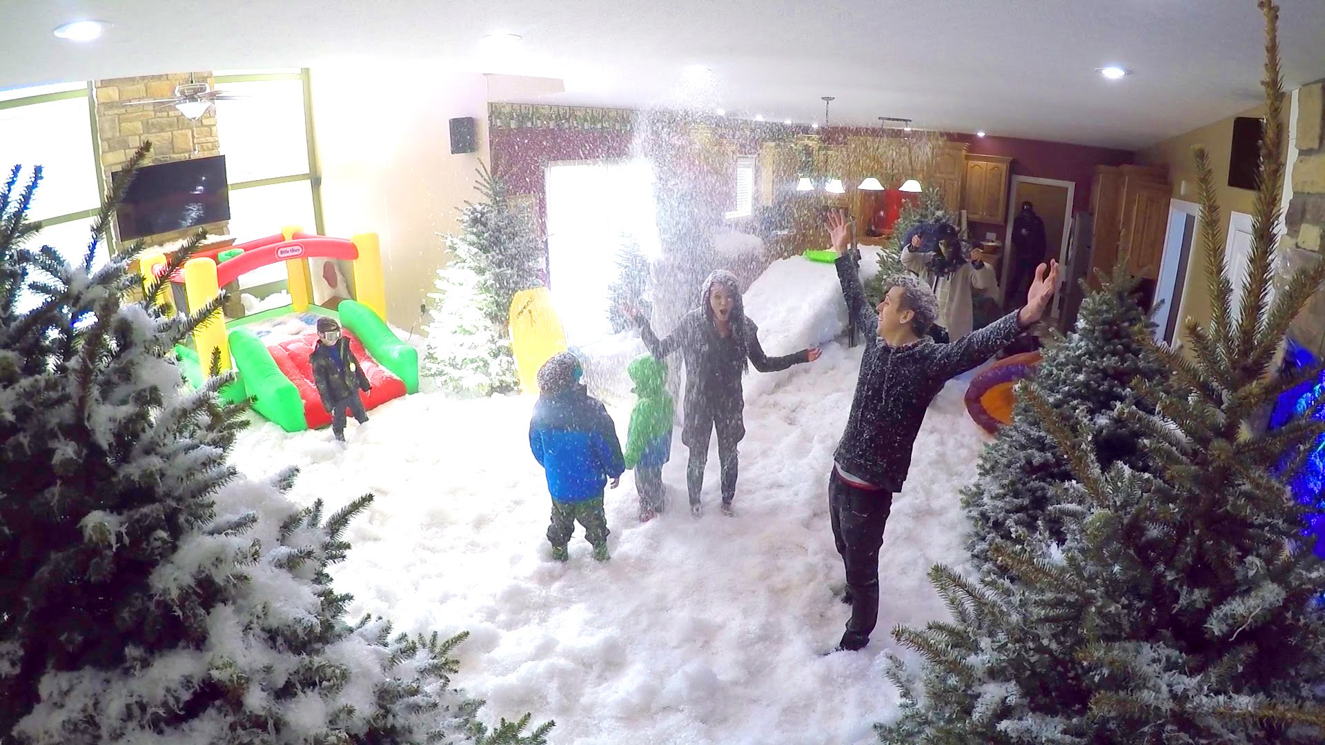 Roman Atwood Surprises His Kids By Filling Their Entire Living Room With Snow