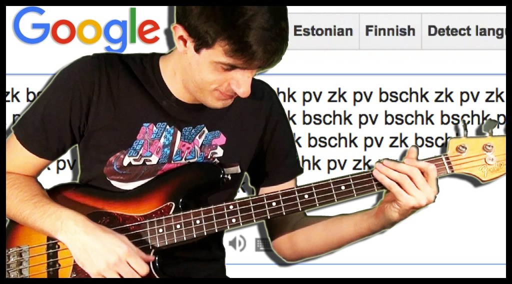 Bassist Skillfully Uses a Spoken Google Translate Answer as a Backing Track for a Slap Bass Solo