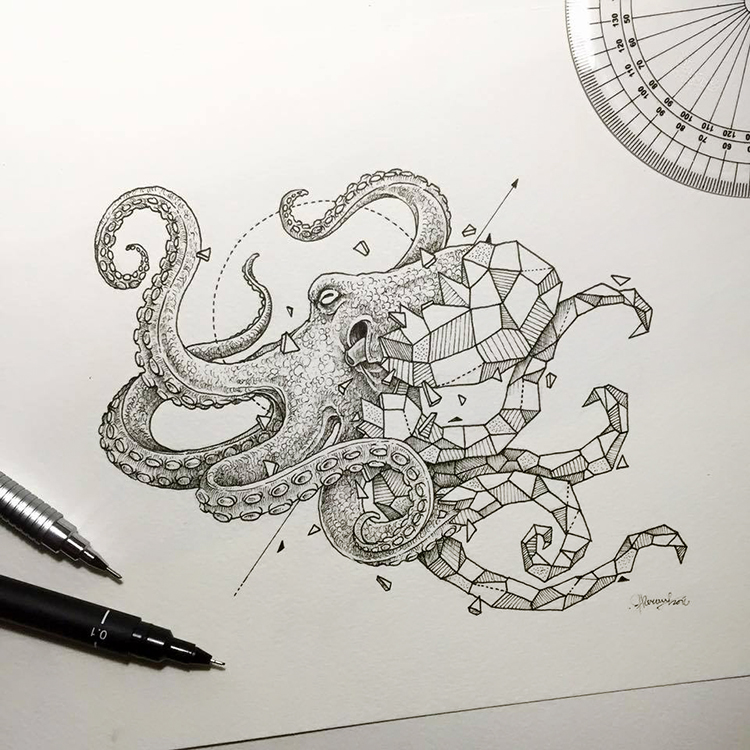 Geometric Beasts Intricate Drawings Beautifully Fusing Together