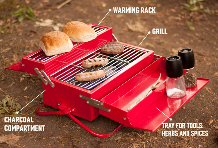 BBQ Toolbox, A Portable Barbecue That Resembles A Classic Metal Toolbox