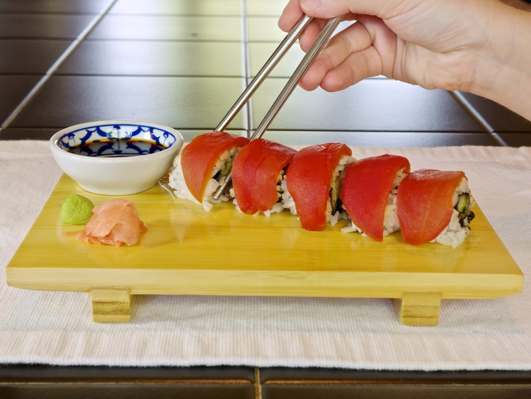 How to prepare a tomato to capture the texture taste and for Sushi grade fish