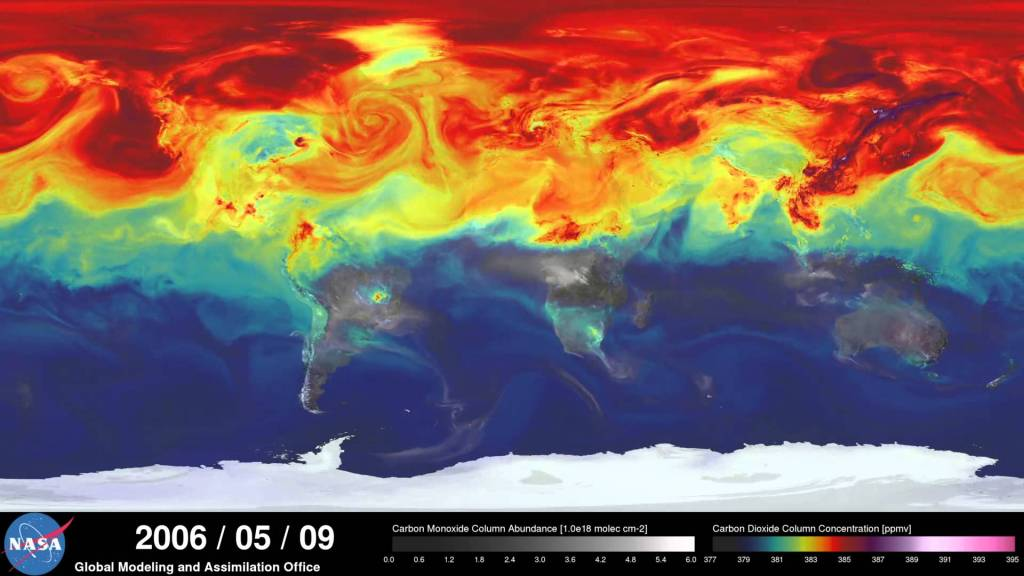 A Incredible Supercomputer Model That Visualizes Carbon Dioxide Levels in the Earth's Atmosphere