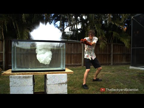 molten kosher salt into a tank of water causing a series of explosions