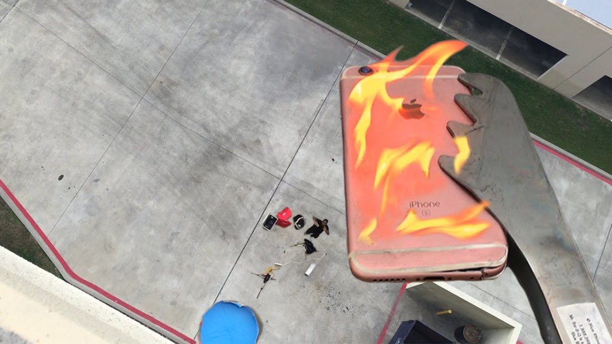 Setting An Iphone 6s On Fire And Dropping It 100 Feet Into A Kiddie Pool Full Of Water