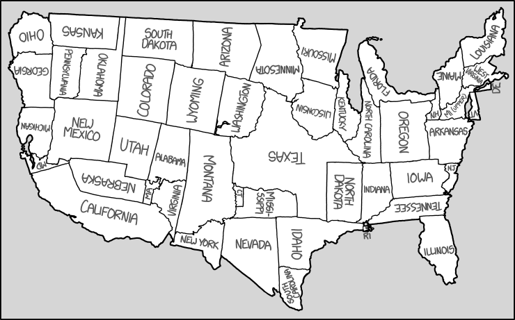 rearranging the shapes of the states to create a new map of the united states of america