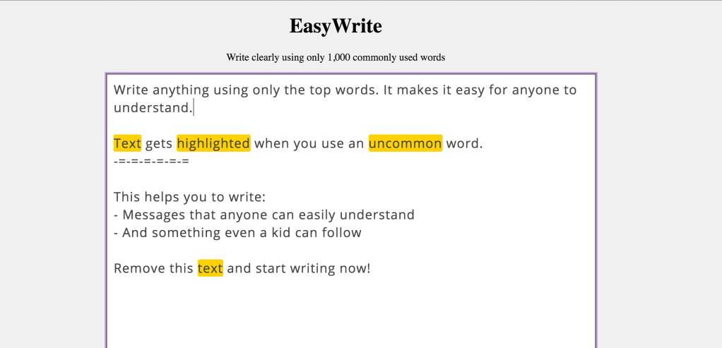 EasyWrite, An Online Text Editor Encouraging the Use of