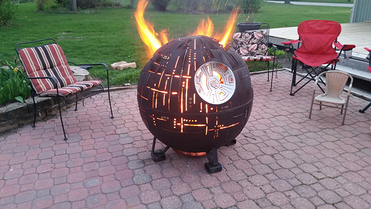 Redditor Alphacodemonkey recently took photos of his incredible steel fire  pit based on the iconic Death Star II battlestation from Star Wars. - An Incredible Steel Star Wars Death Star II Fire Pit
