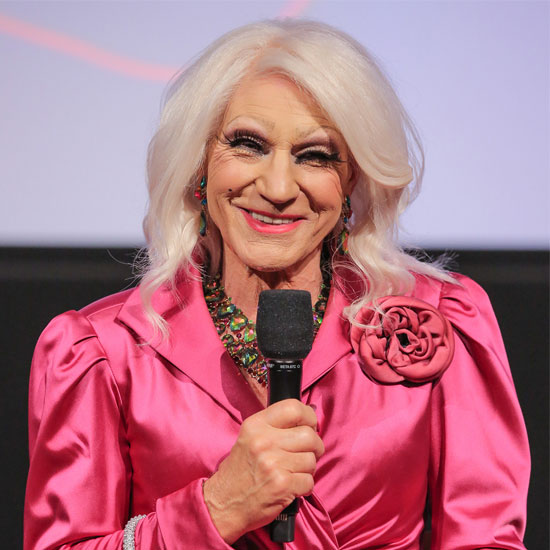 Patrick Stewart Smiling in Drag