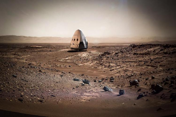 Space X Dragon Capsule on Mars