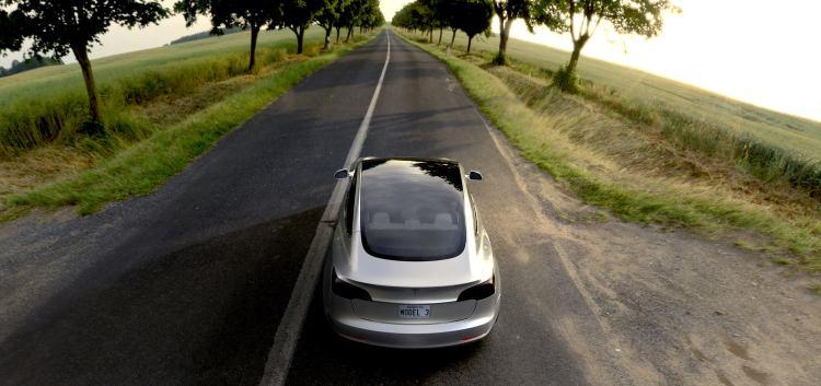 Tesla Model 3 Silver Overhead View