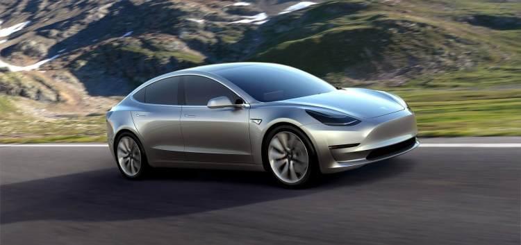 Tesla Model 3 Silver on Road