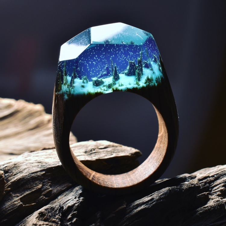 Stunning Wood and Resin Rings That Feature Miniature Nature Scene Dioramas