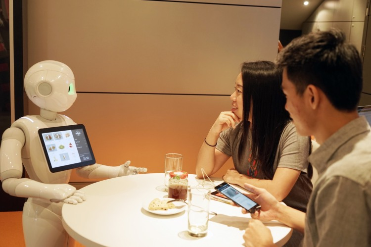 Pepper Robot With Customers