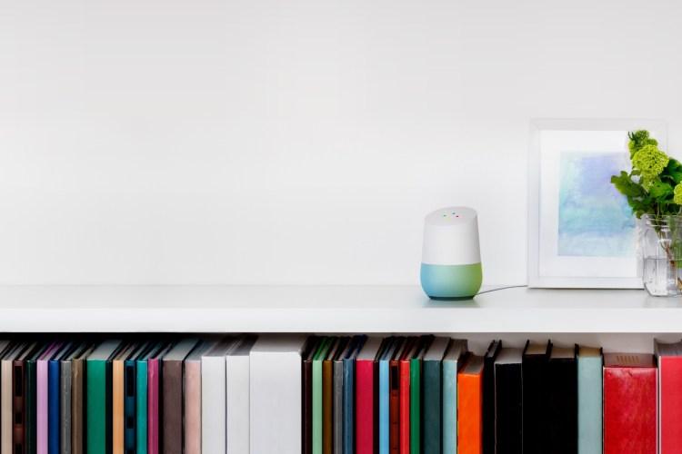 Google Home on Bookshelf
