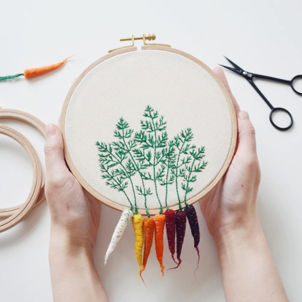 Beautiful Hoop Embroidered Leaves With Their Matching Root Vegetables Cleverly Hanging Below