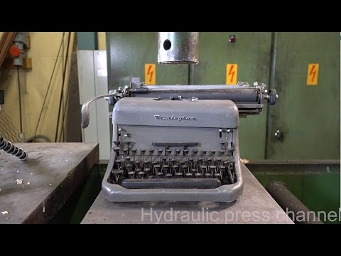 Crushing a Typewriter With a Hydraulic Press
