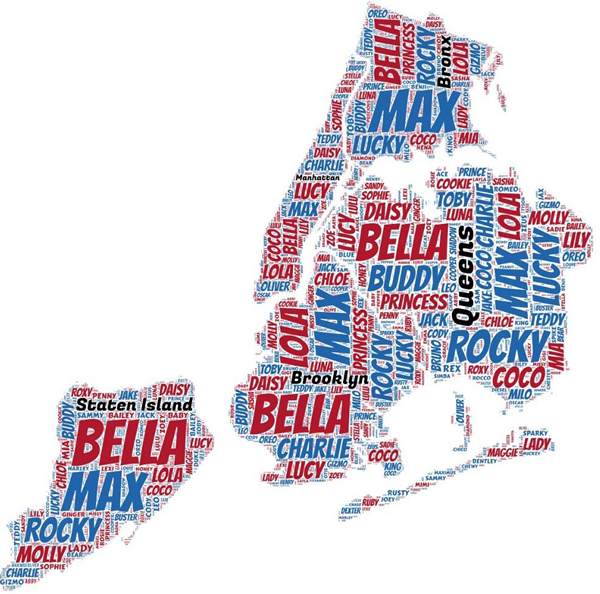 NYC Map Dog Names 2016