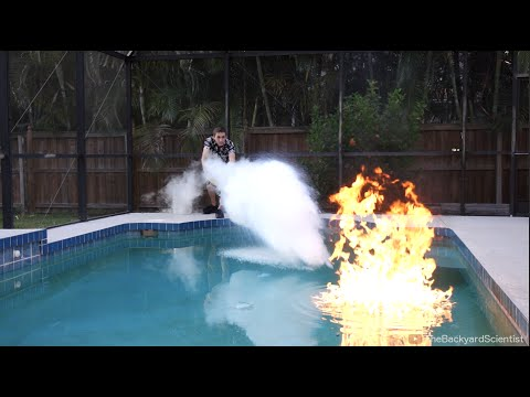 The Backyard Scientist Puts Out A Flaming Swimming Pool Using Liquid Nitrogen And Dry Ice
