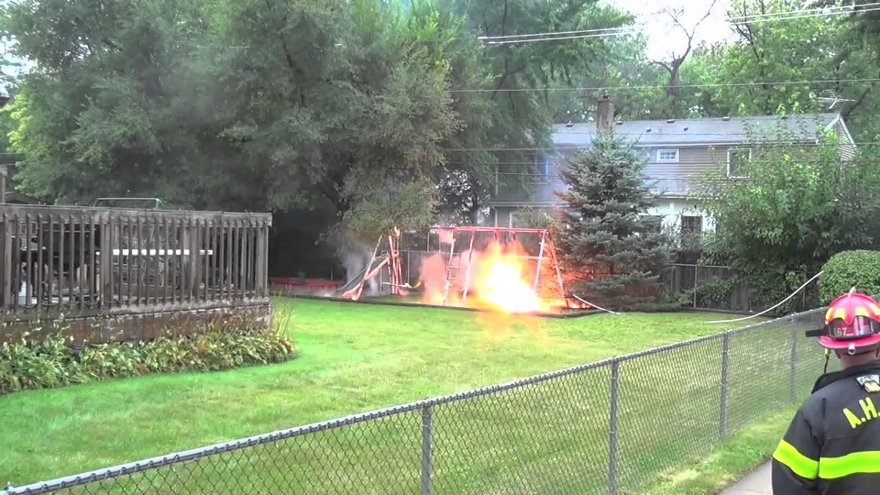 a fallen power line electrifies a metal swing set and surrounding