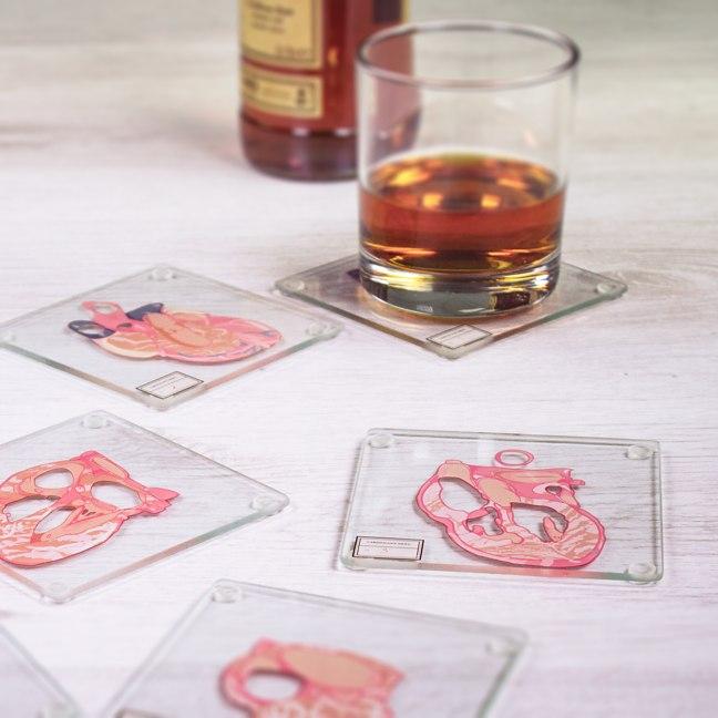 Heart Anatomy Coasters Bourbon