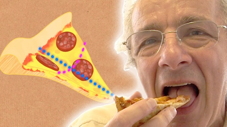 How Gaussian Curvature Is Responsible for the Remarkable Way People Eat Pizza