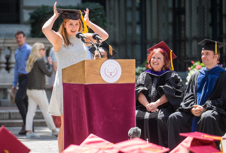 Improv Everywhere Commencement Speaker Adjusts Cap