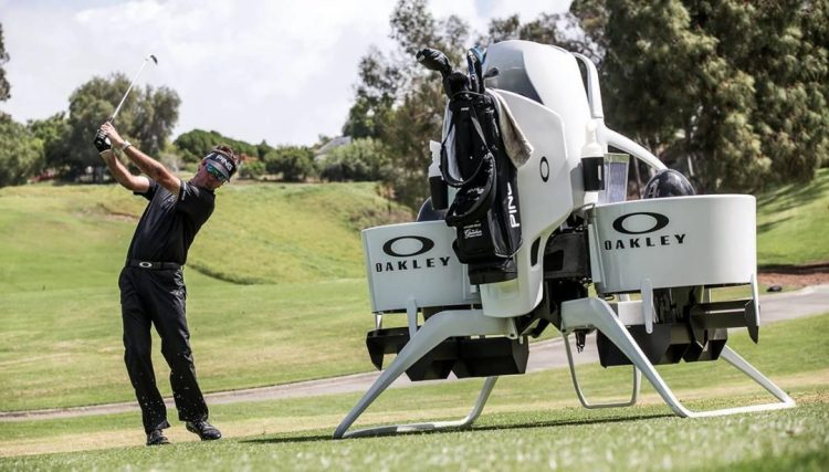Bubba Watson Swings in Front of Jetpack Cart