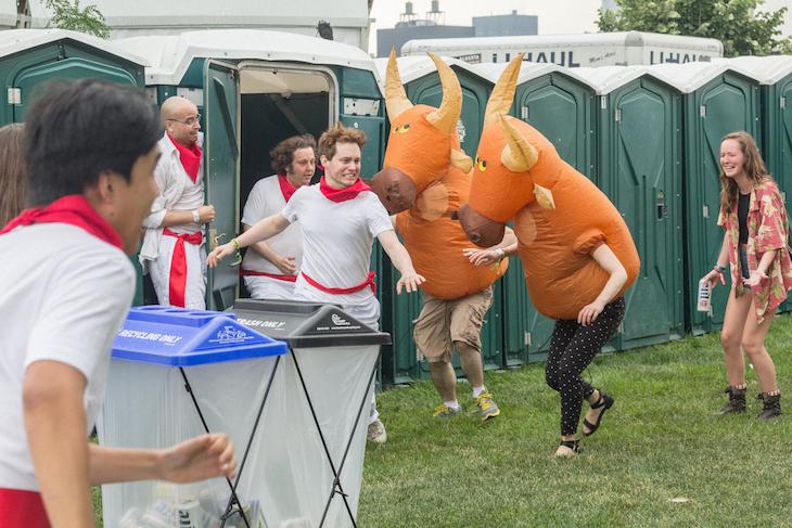 Magic Porta Potty Running of the Bulls