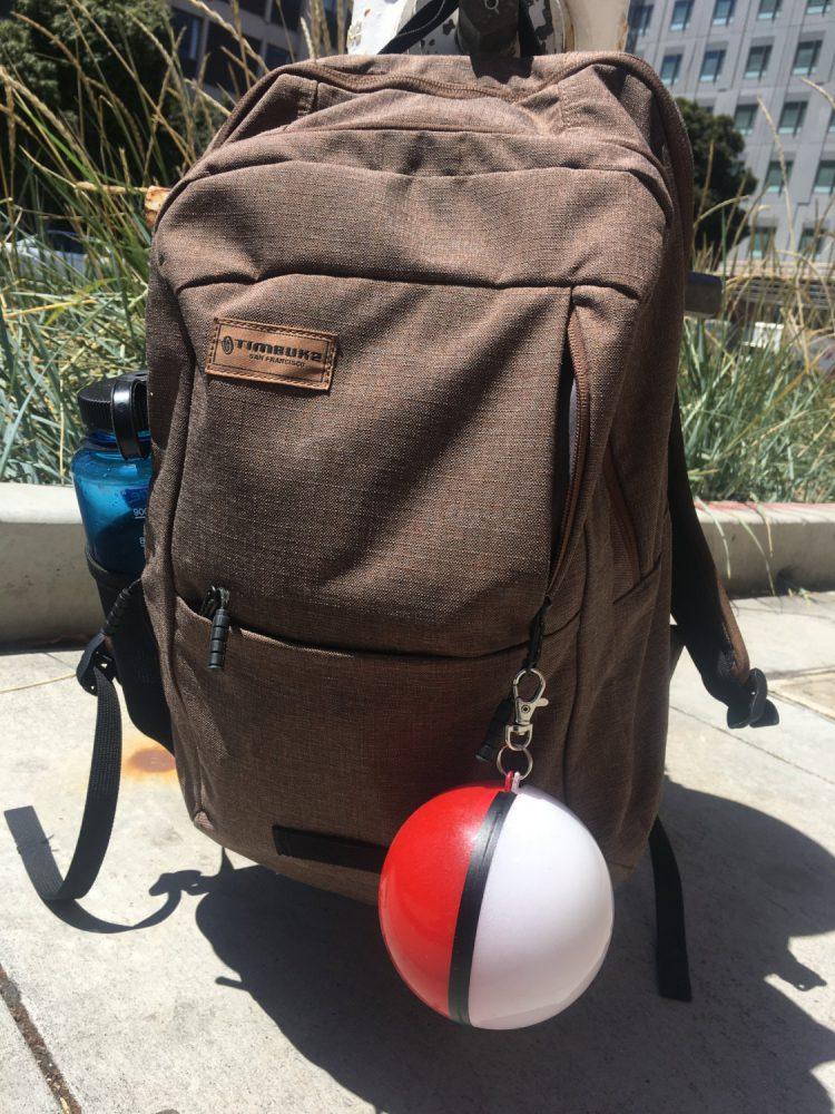 Pokeball Charger on Bag