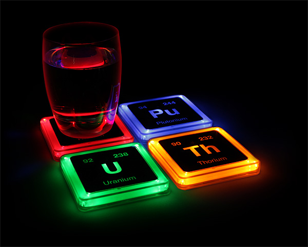 Radioactive Elements Coasters That Glow When You Place Your Drink On - Coasters with photos on them