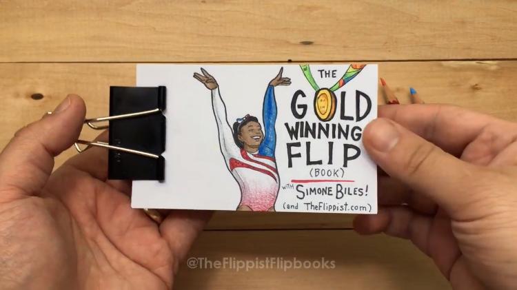 Gold Winning Flip Book Simone Biles