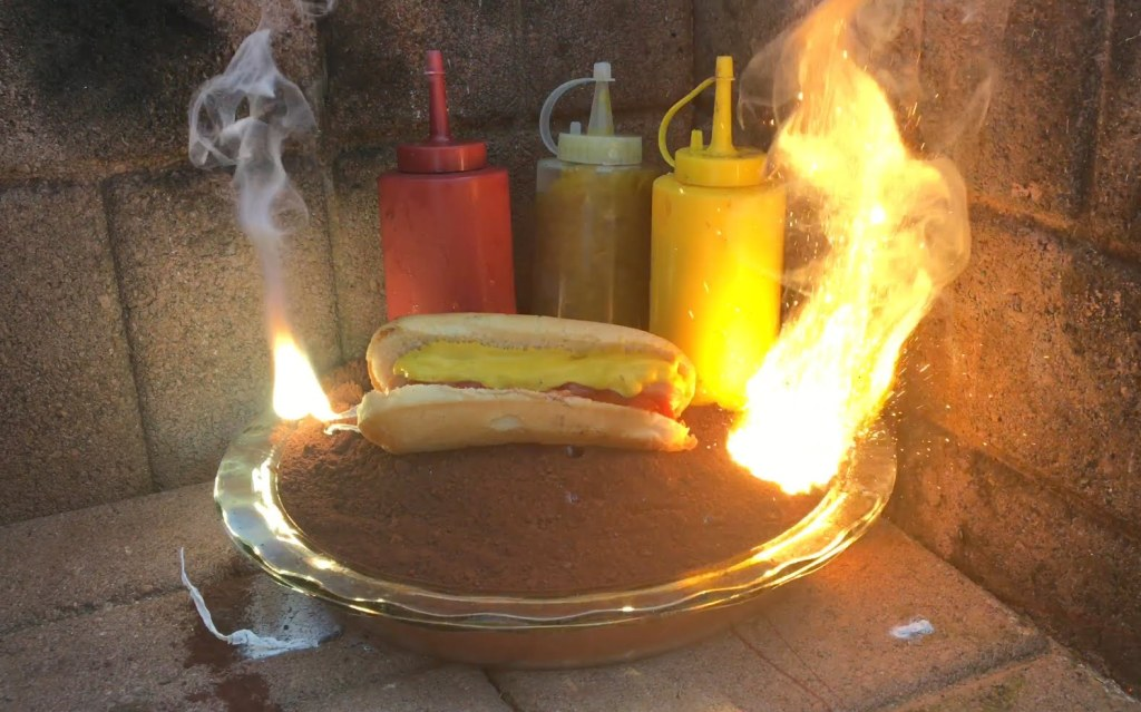 A Hot Dog, Ketchup, Mustard, and Relish Cooked With 4,000° F Thermite