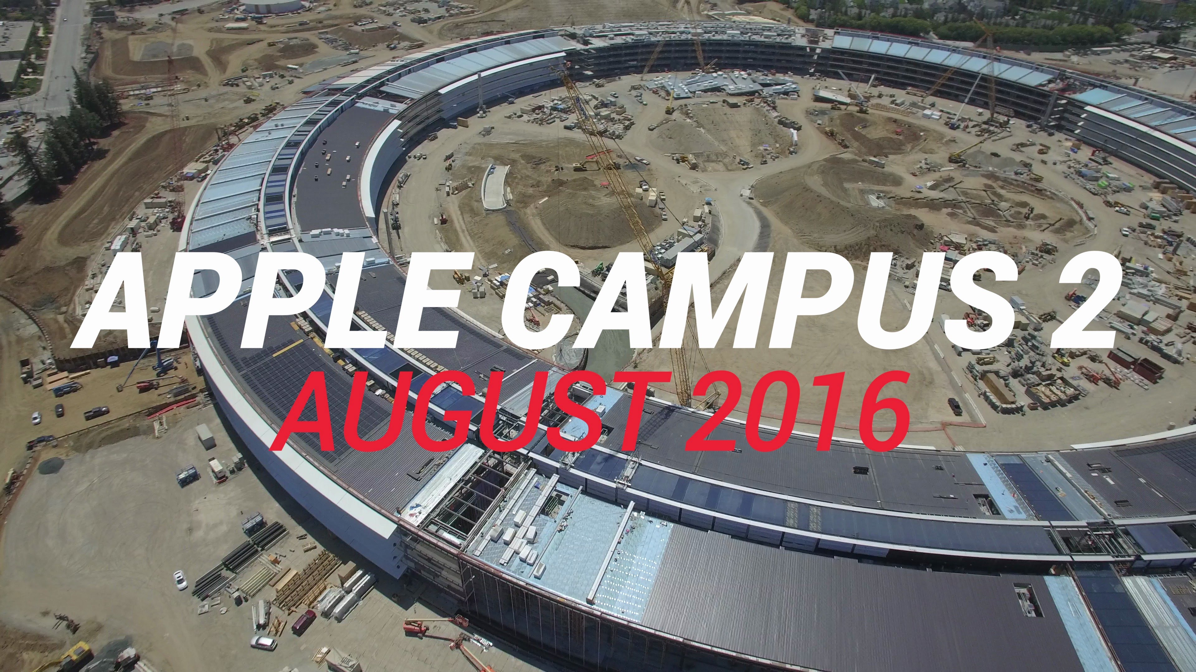 Overhead Drone Footage Captures The Current Construction Progress Of Apple Campus 2