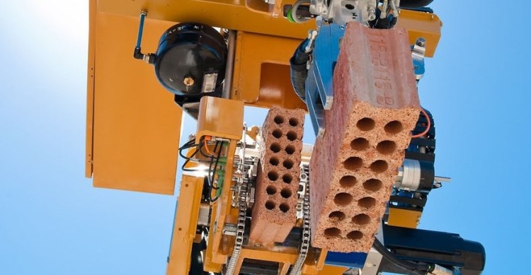 Hadrian Bricklayer Robot Brick in the Air