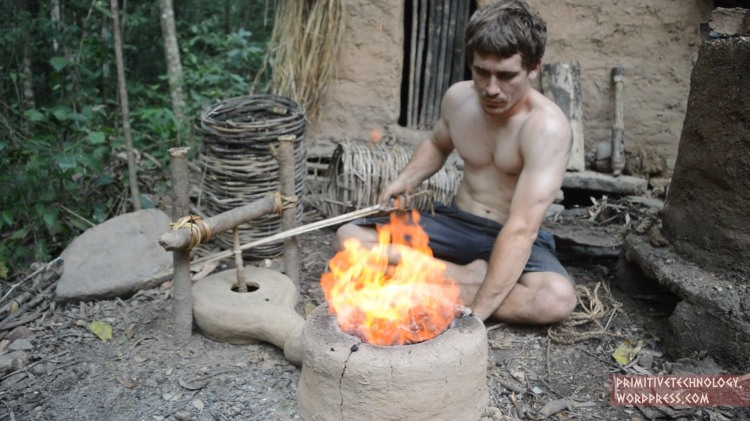 How to Build a Forge Blower Using Sticks, Clay, Fire, and Other Primitive Technology