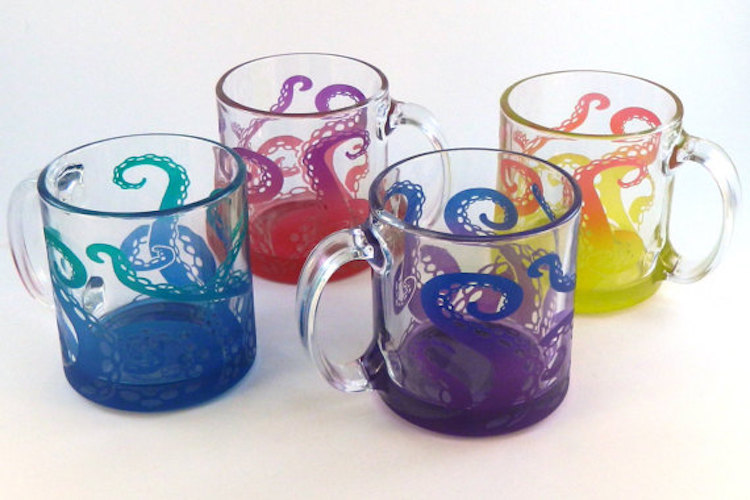 ... Colorful Handmade Coffee Mugs Featuring Etched And Painted S That Reach  Toward The Sky ...