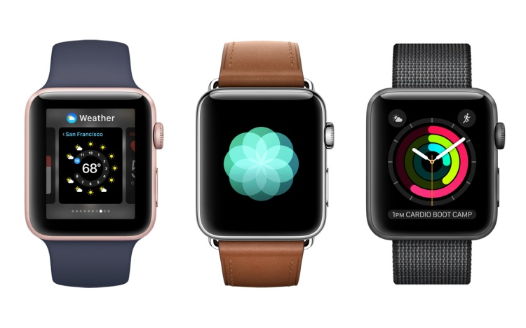 Three Apple Watch Series 2s