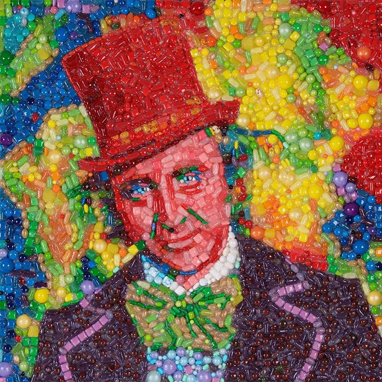 San Francisco Artist Immortalizes Gene Wilder as Willy Wonka In a Mosaic Portrait Made of Candy