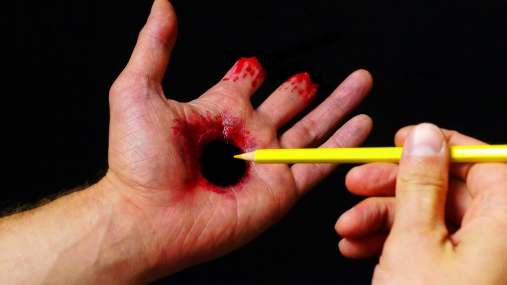 A Gruesome Hole Through the Hand Halloween Makeup Tutorial