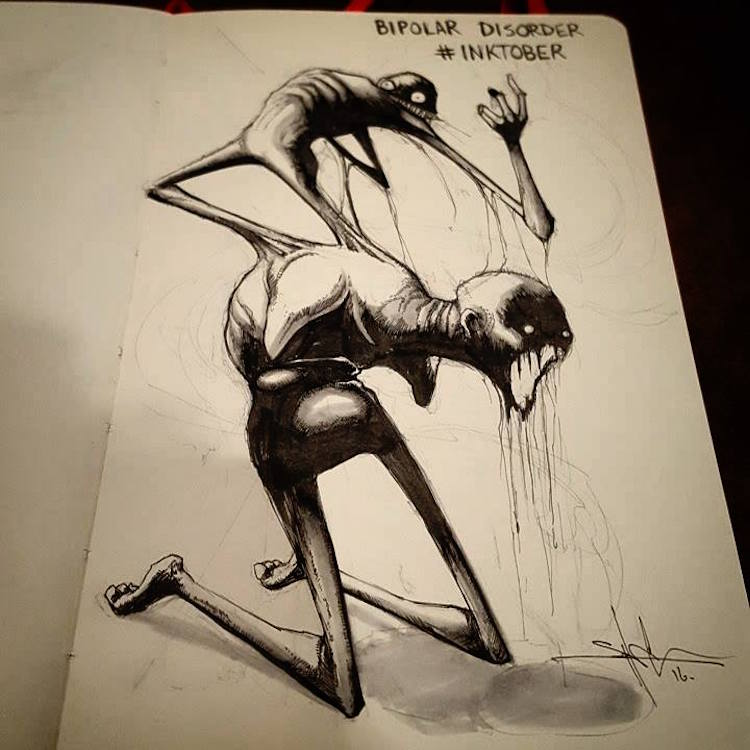 Talented Artist Inks Haunting Illustrations of Mental Illnesses Every Day Throughout October