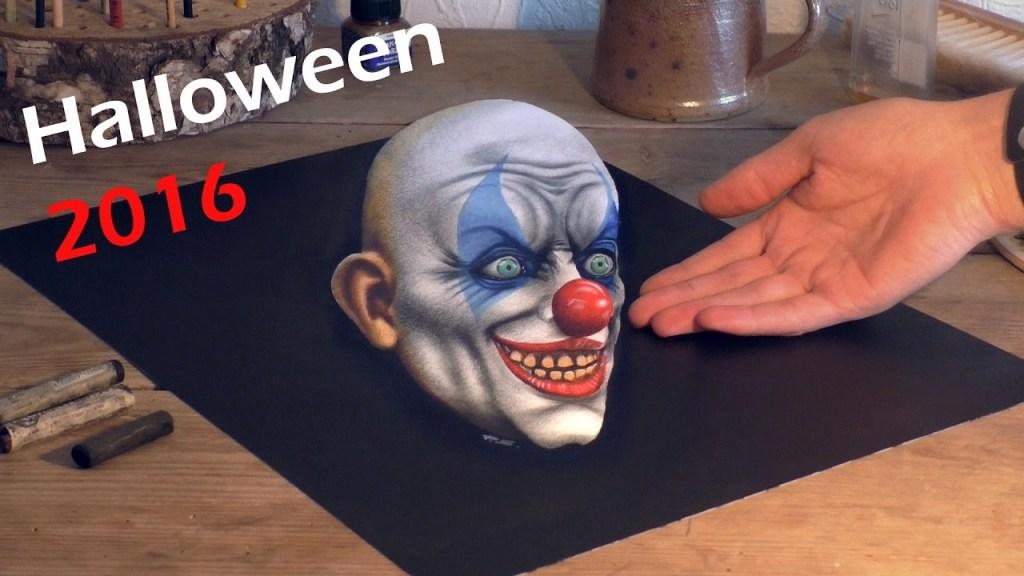 German Artist Stefan Pabst Creates 3D Drawing of a Creepy Clown From Halloween Horror Nights