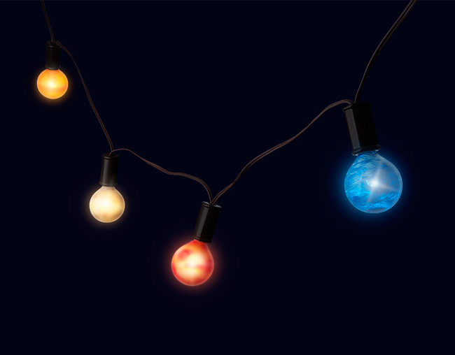 A String of Colorful Planetary Holiday Lights Representing Our Solar System