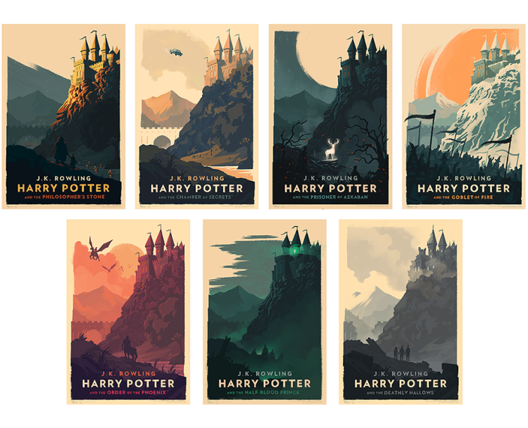 Harry Potter Book Cover Art Posters ~ Beautiful harry potter art prints and covers created by