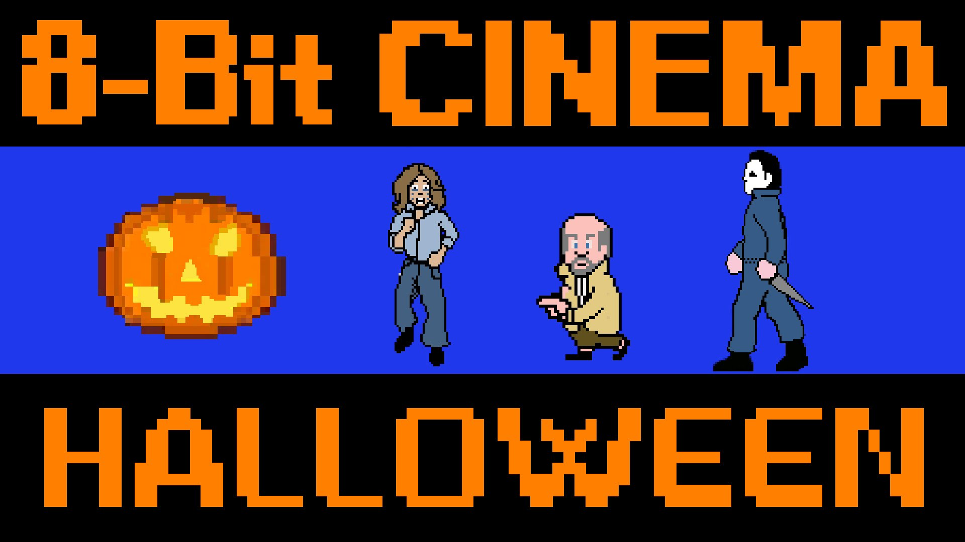 the horror movie halloween retold as an old school 8 bit animated video game