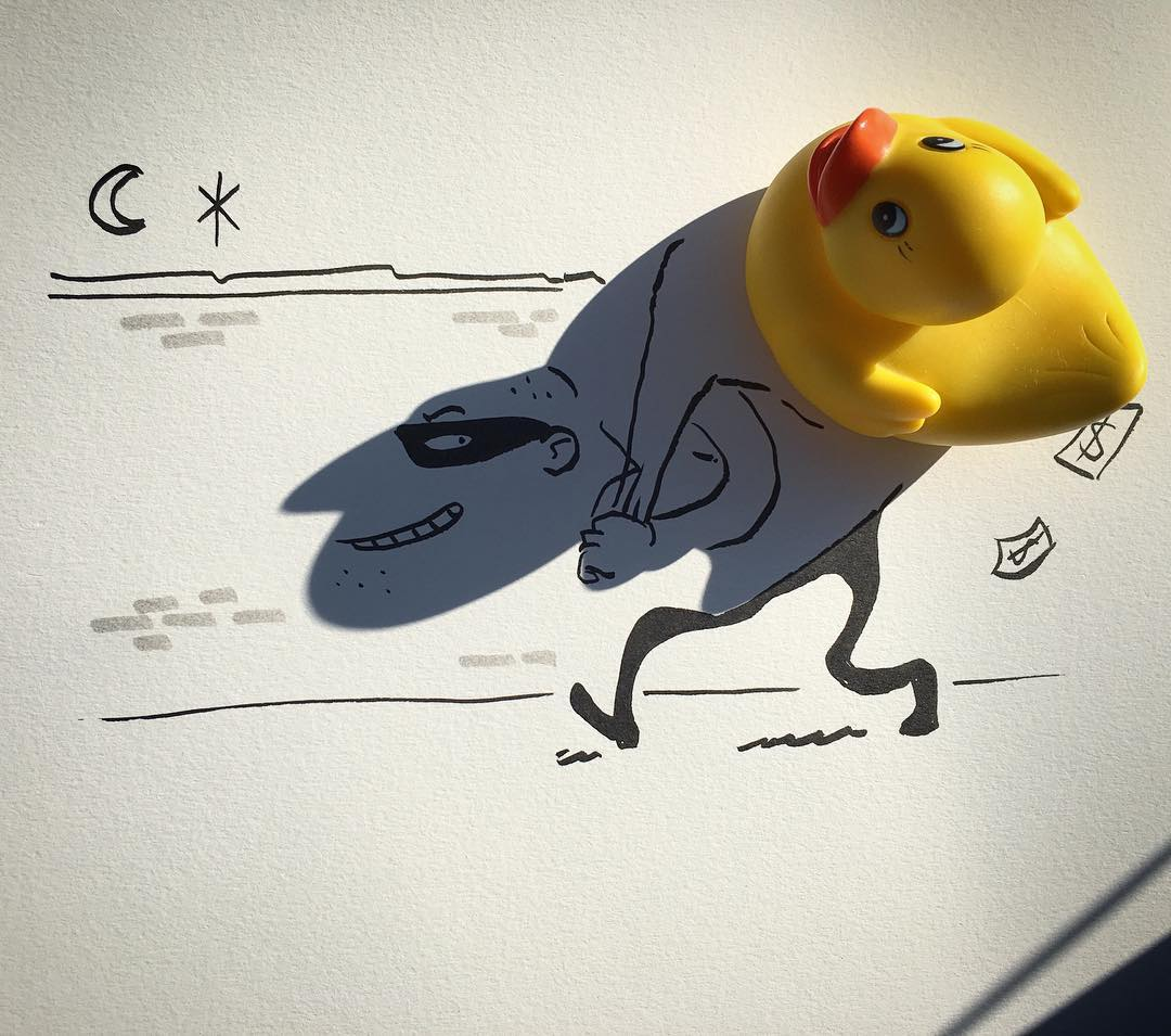 Ingenious Illustrations Created From the Shadows Cast by Sunlit Household Items