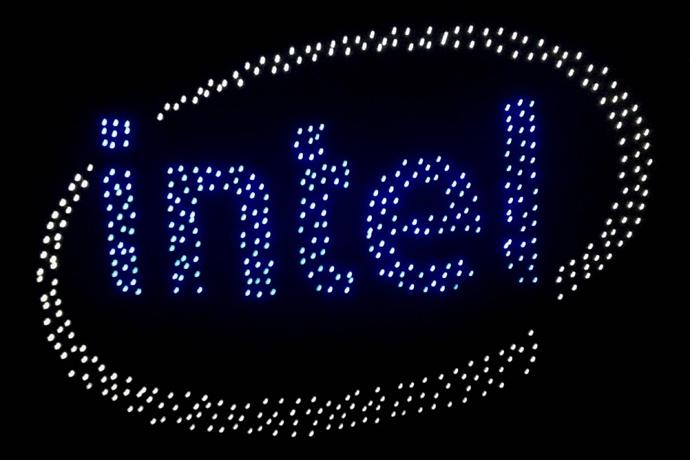 Intel Logo With 500 Drones